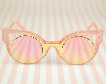Vintage deadstock cat eye pink and gold sunglasses