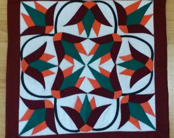 Handstitched Applique Art/Patchwork Cushion cover 45x45 cm MADE IN EGYPT