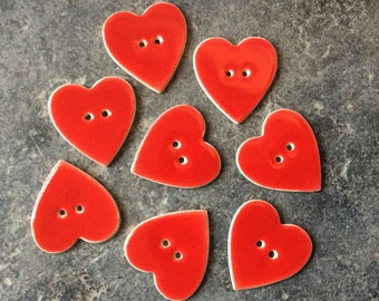 8 Red Heart Shaped Ceramic Buttons , Handmade Buttons, Red Buttons. Valentine's Buttons.