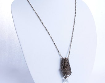 Long Metal and Jeweled Steampunk Necklace, Long Chain Necklace, Steatment Necklace.