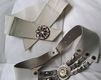Two White Leather Belts