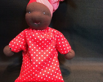 Waldorf doll, beautiful dark skin, lovely red fabric dress and hat! REDUCED