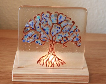 Blue Tree of Life ~ Unique Handpainted Fused Glass Art ~ Original Mother's Day, Housewarming, Valentine's, Birthday Gift ~ Present for Her ~