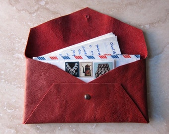 Leather Envelope - Red