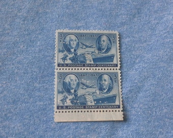 United States of America stamps a pair of 1947 3c 100th anniversary of us postage stamps