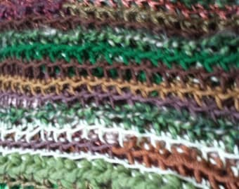 Green & Brown Forest hand crocheted throw blanket