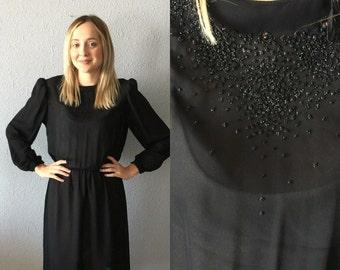 VTG Black Beaded Sheer Midi Dress by Dawn Joy Fashions