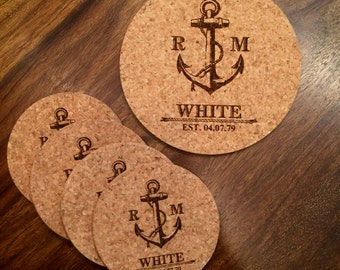 Personalized Engraved Anchor Cork Coasters – Set of 4 with 1 Cork Trivet/Hot Pad - Wedding, Anniversary, Christmas Gift, Kitchen Home Decor