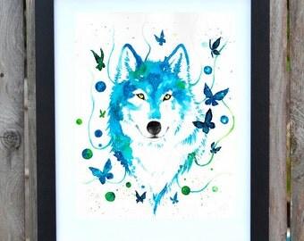 Siberian Husky blue watercolor print, blue butterflies, dog art, dog watercolor painting, home decoration, animal print, handmade