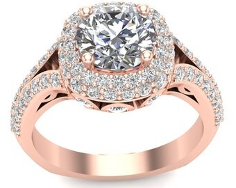 Rose Gold Engagement Ring Double Halo Ring 1.02ct Round Diamonds, for 1.0ct Round Center Split Shank Semi Mount Brand New 14K Setting Only