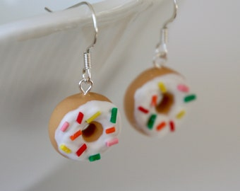 Donut Earrings with White Frosting and Rainbow Sprinkles - Miniature Polymer Clay Food Jewelry