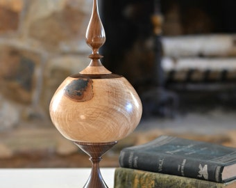 Hickory Burl Decorative Hollow Form Vase with Removable Finial Top