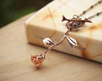 Rose Pendant Necklace, Rose Necklace, Rose Gold Rose Necklace, Long Stem Rose, Rose Flower Necklace, Gift For Mother, Gift For her