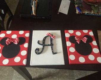 Minnie/Mickey canvas nursery art