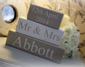 Personalised Wooden Wedding Blocks