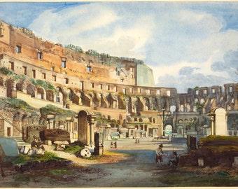 Interior of the Colosseum Print, Ippolito Caffi Print, Colosseum Print