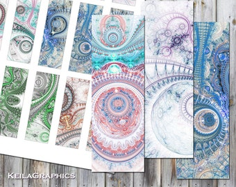 """Digital Collage Sheet - Instant Download - Rectangle Microscope Slide Size 1x3"""" - Printable Images - Fractal Steampunk"""