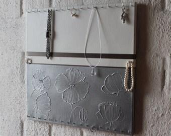 """Schmuckboard """"Silver flowers - poppies"""""""