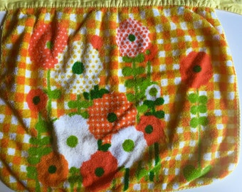 Vintage 1970s Terrycloth Floral Waist Apron