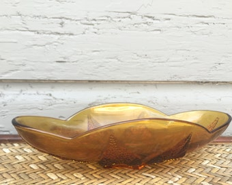 1960s Amber Glass Dish