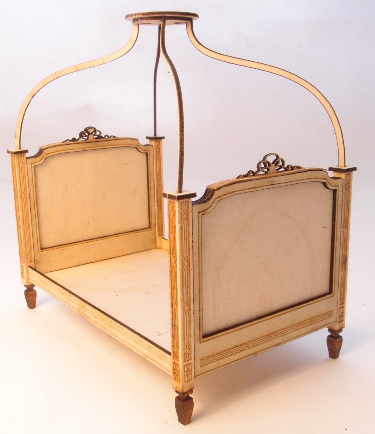 1:24 Scale Miniature Dollhouse Furniture Kit French Canopy Bed