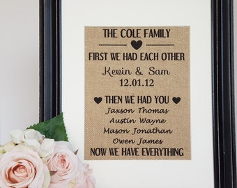 Special Dates Sign - Important Dates Sign - Our Love Story - Family Name Sign - Burlap Family Sign - First We Had Each Other - Burlap Print