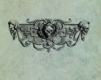 Pirate Skulls Header Banner - Antique Style Clear Stamp