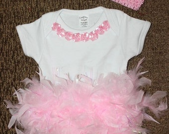 Baby's Special Occasion Feather Tutu Onesie