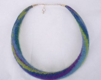 Size S, Necklace, felt necklace, felted necklace, choker, purple, green, teal, wool jewelry, rainbow necklace, wool necklace, 16.8 in