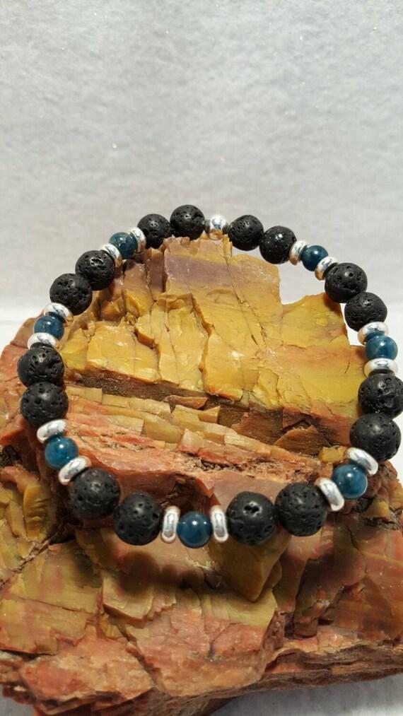 Lava and Apatite stretch bracelet