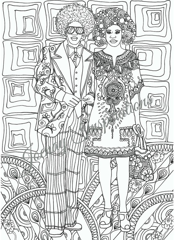 Instant Download Printable I Love the 70s Coloring Page