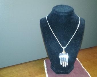 Antique Silver Plated Fork Pendant (efl09)