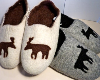 Felted wool Moose Slipper ( Tan & Brown)