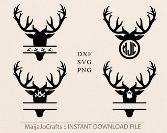 Antlers SVG Antlers monogram svg PNG Clip art DXF Deer monogram frames Svg cut files for silhouette cameo cricut files  Vector file Christma