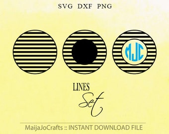 Monogram Circle Patterned SVG cut files DXF file instant download Silhouette cameo designs Cricut files Cute PNG Clipart Vector file