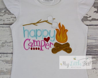 Happy Camper shirt, Camp fire shirt, Girl camper