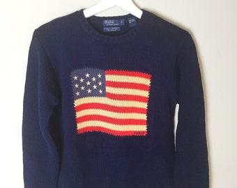 Vintage Ralph Lauren American Flag Sweater