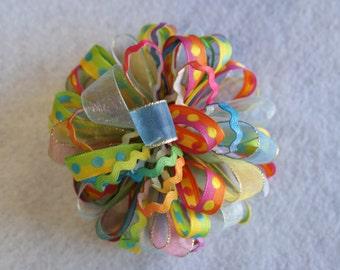 Rainbow Loopy Hair Bow
