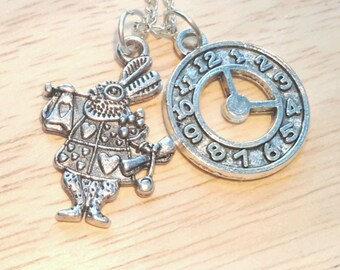 Alice In Wonderland Necklace, Alice in Wonderland Jewelry, We're all Mad Here, White Rabbit Necklace, I'm Late Necklace, Clock Necklace