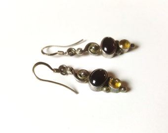 Vintage Sterling Silver Earrings with Red and Yellow Gemstones
