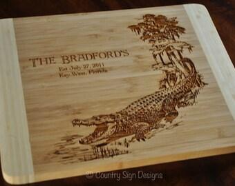 Bamboo Cutting Board, Louisiana Bayou, Alligator Personalized, Wedding Gift, Wedding, Anniversary
