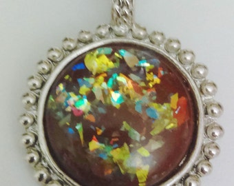 Vintage Pendant for a Necklace or Chain Synthetic Opal Pendant