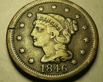 1846 Large One Cent Tall Date Liberty Head/Matron Head Very Fine Condition FREE SHIPPING