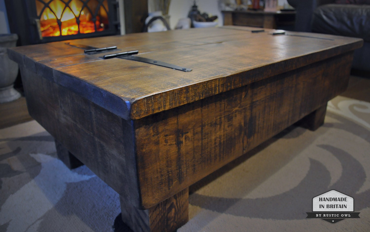 storage coffee table wood chest rough sawn rustic pine 3ft 2