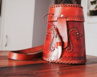 Unique handmade mexican style tooled leather handbag with deer antler closure