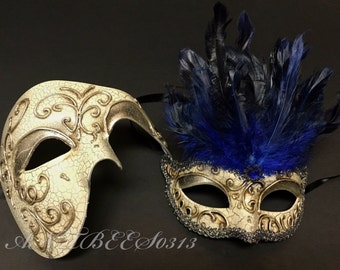 Couple Antique Silver Eye Lining Phantom & Blue Feather Masquerade Costume Mask