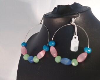 blue pink and green hoop earrings