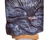 Sleeping Cat Art Tile; Handsculpted ceramic cat; Sculpted wall art; OOAK art; Relief wall tile; Art for Cat Lovers