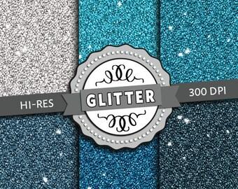 Premium Hi-Res Digital Paper - Blue Glitter