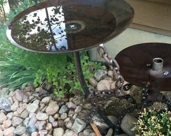 Custom two tiered bird bath and feeder